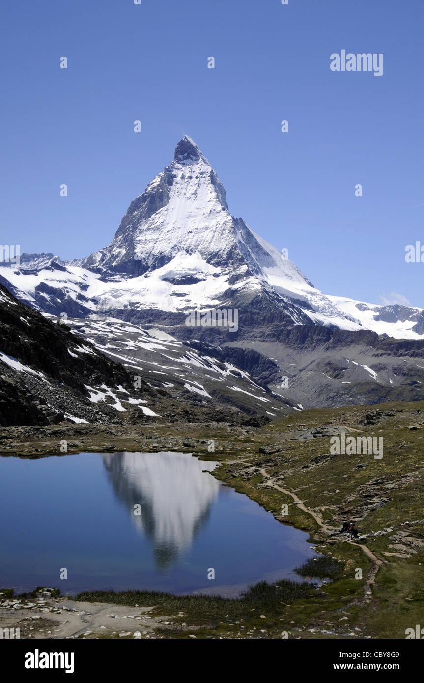 View of the famous Zermatt mountain in Switzerland. - Stock Image