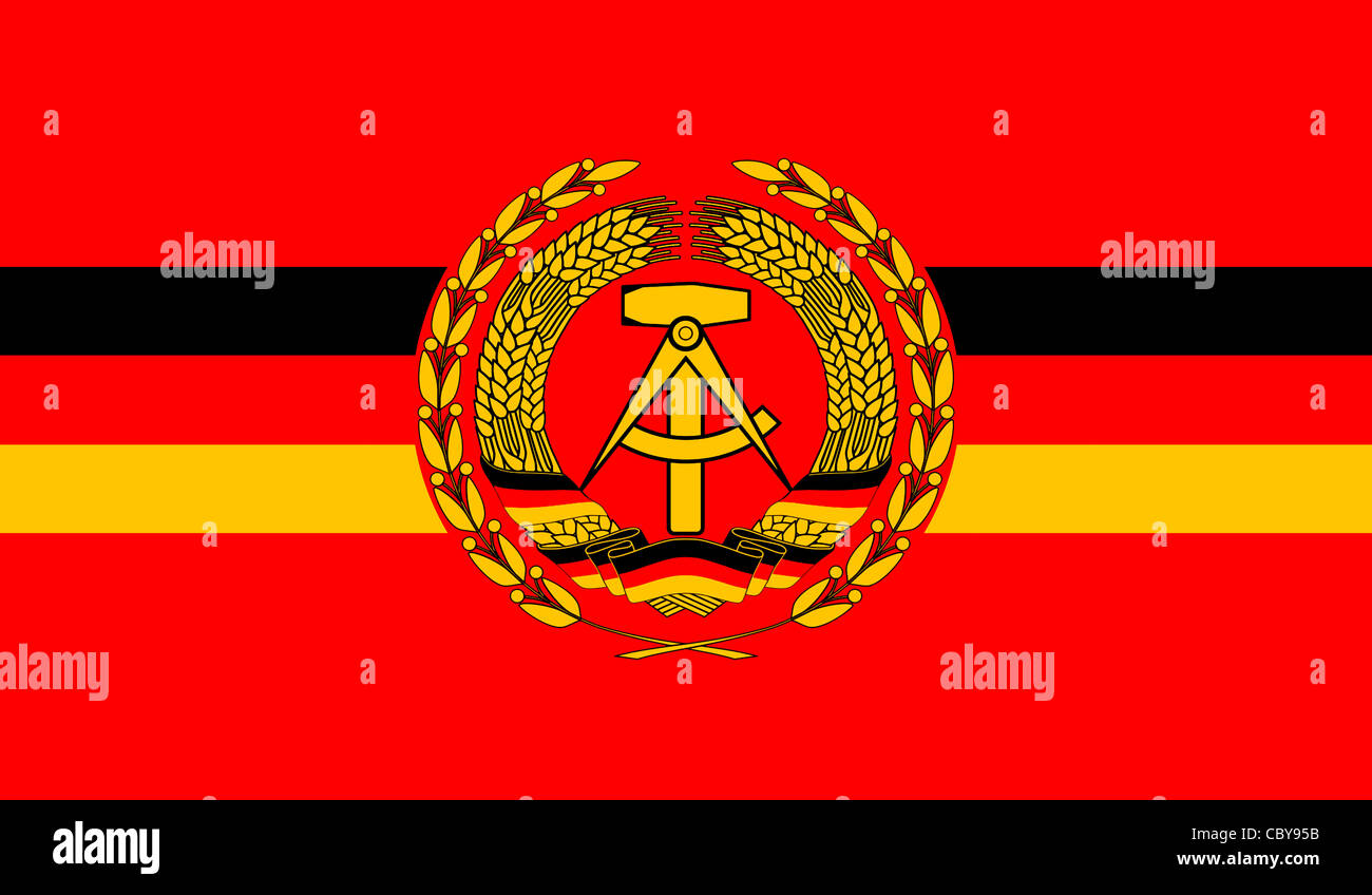 Flag of the People Navy of the GDR with the coat of arms. - Stock Image