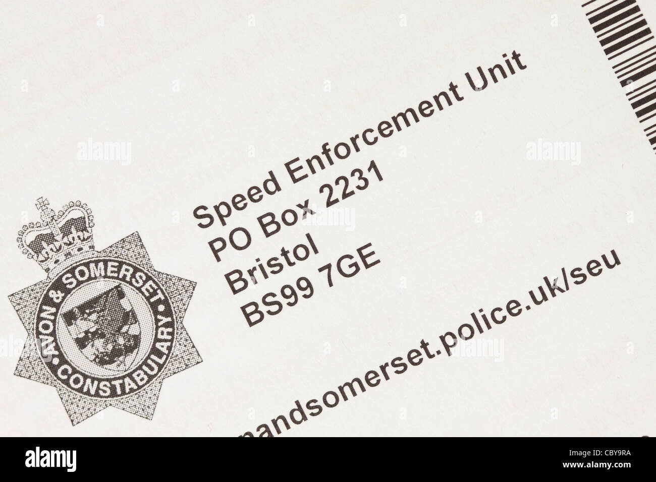 Speed Enforcement Unit Avon and Somerset Constabulary letter - Stock Image