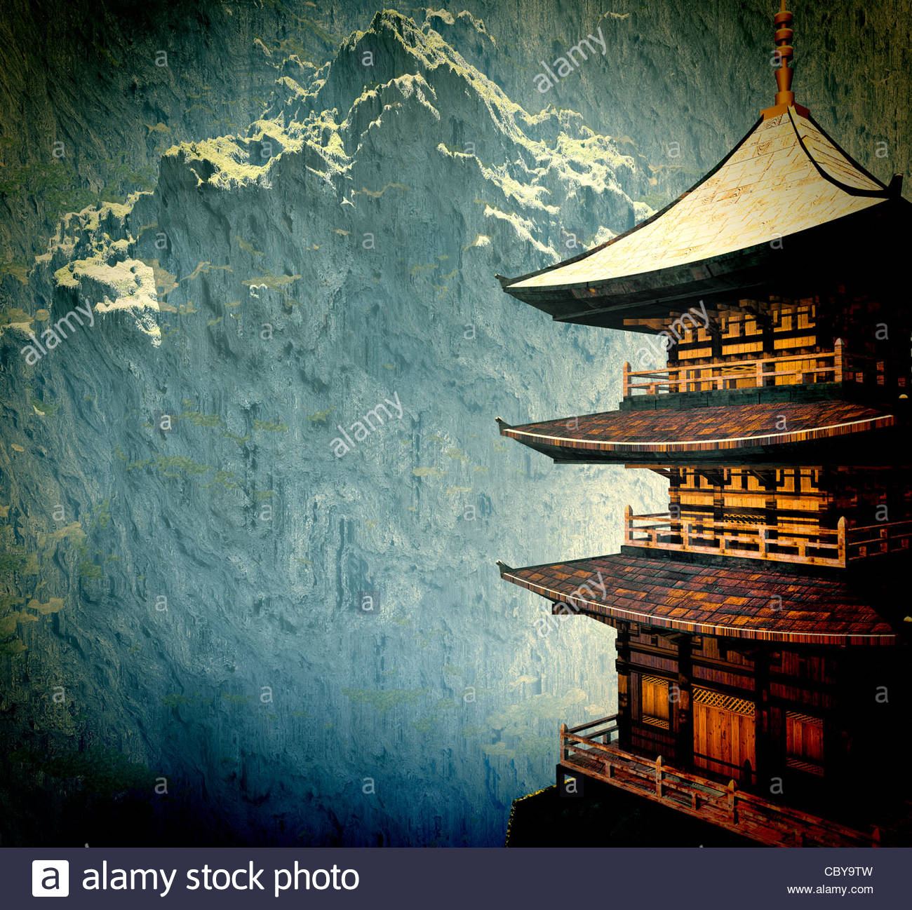Zen buddhist temple in the mountains - Stock Image