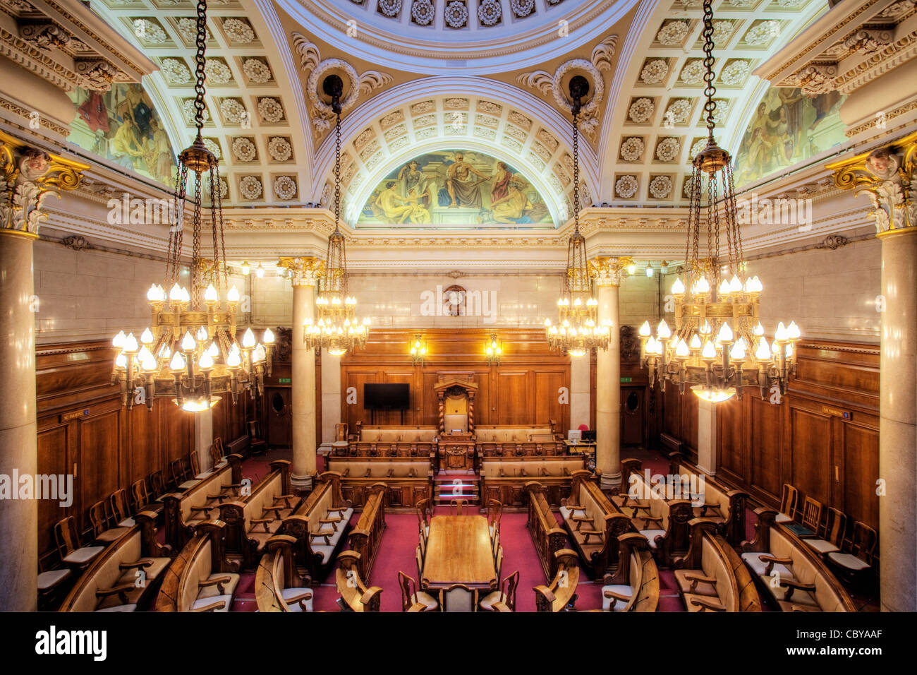 The Council Chamber in the Guildhall. Hull, East Yorkshire. - Stock Image