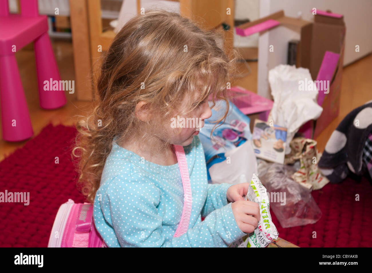 3 Year Old Child Girl Infant Toddler Opening A Xmas Christmas ...