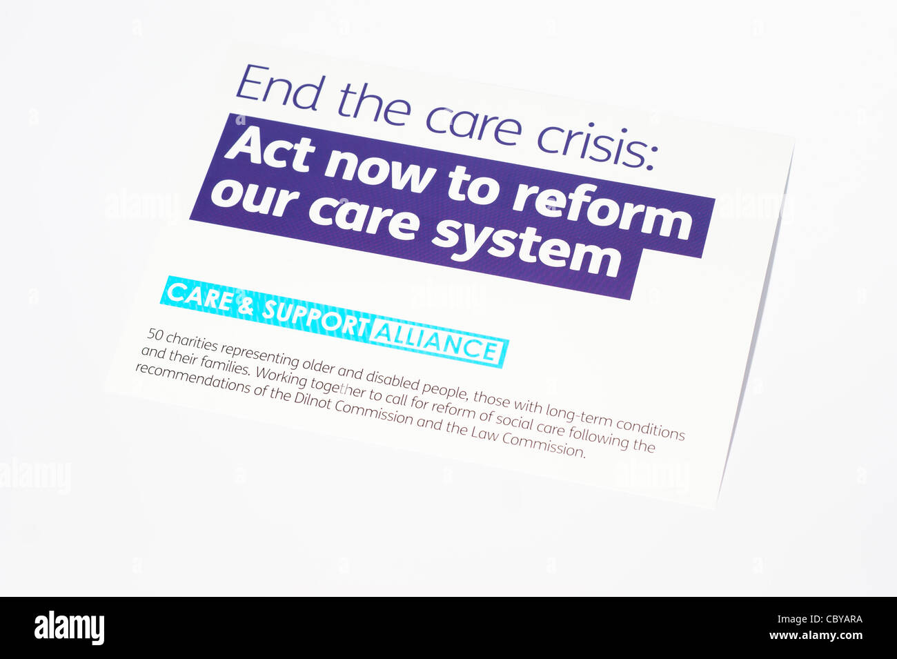 Form for writing to MP to campaign for a better system & rights for older & disabled people - Stock Image