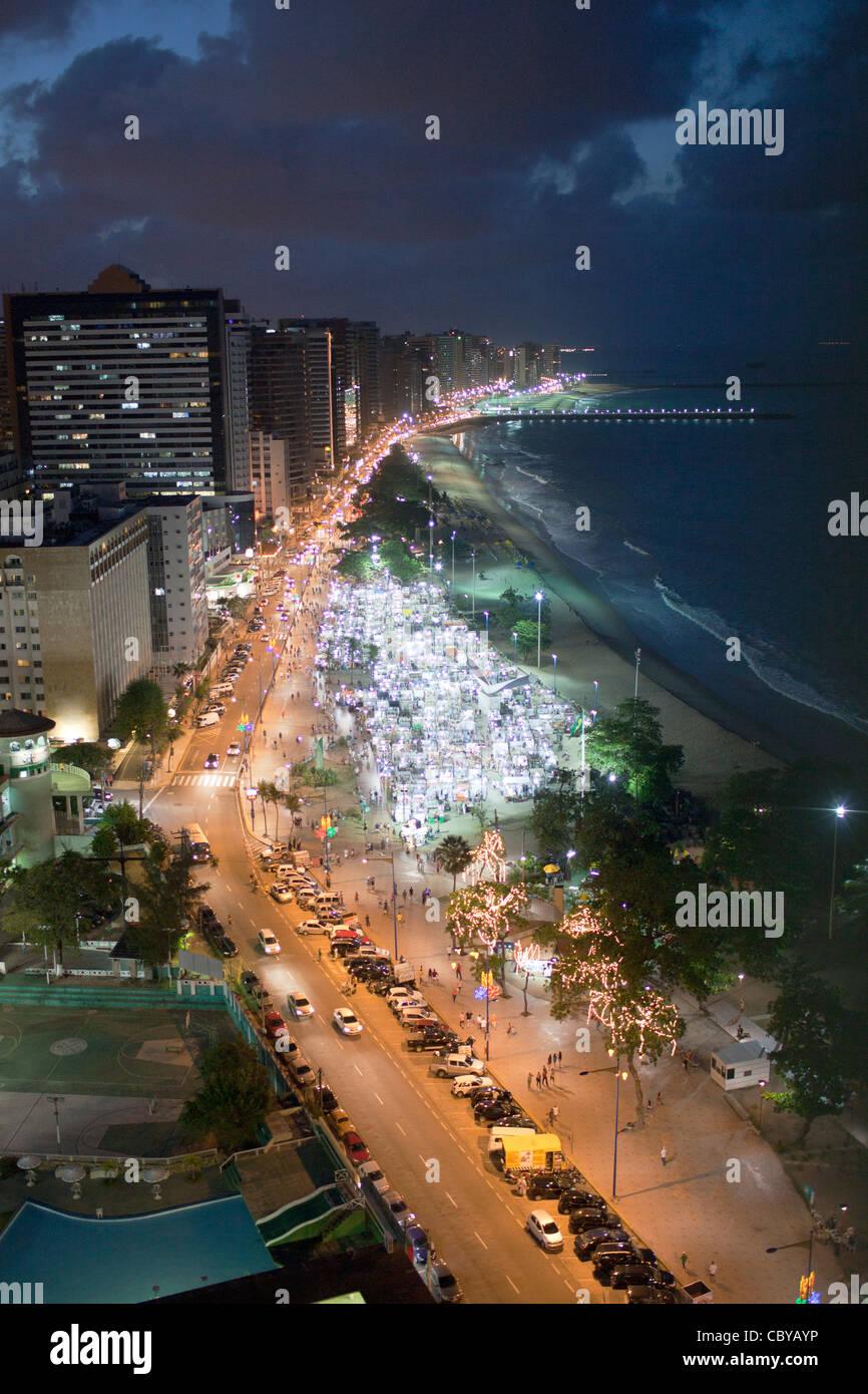 Fortaleza in Brasil by night - Stock Image