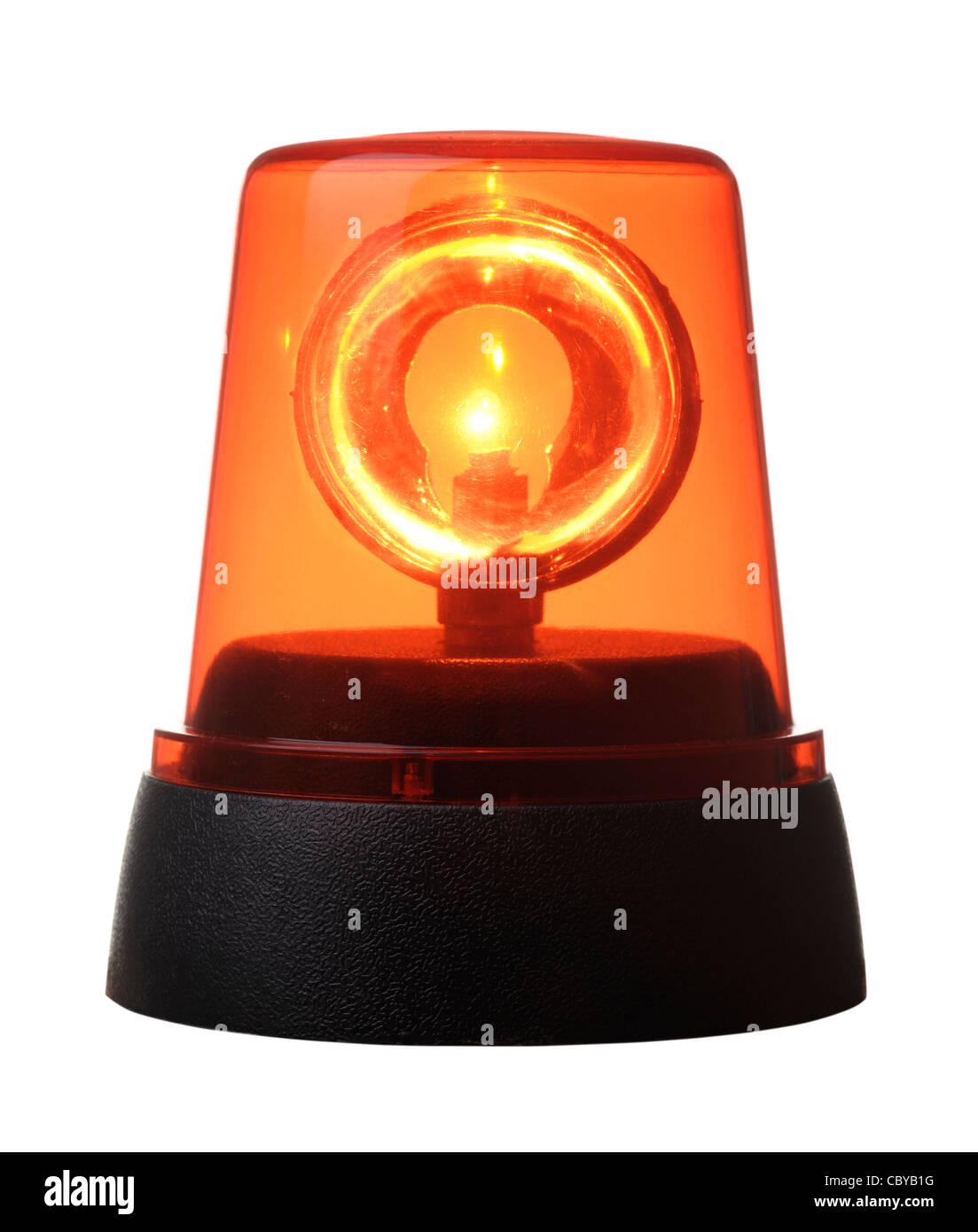 Orange flashing light - Stock Image
