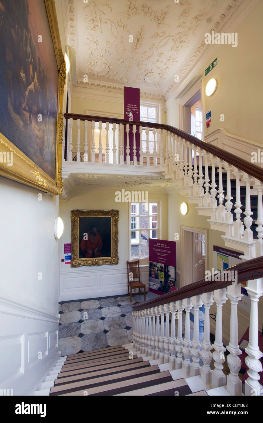 A stairway in Wilberforce House, Hull, East Yorkshire. - Stock Image