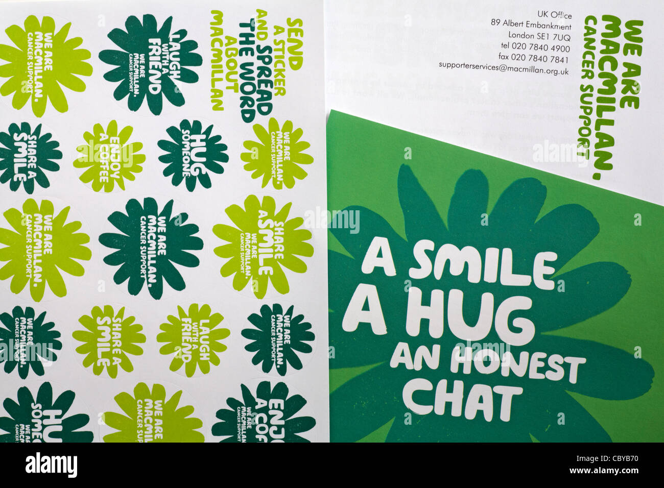 Correspondence and stickers received from Macmillan Cancer Support - Stock Image