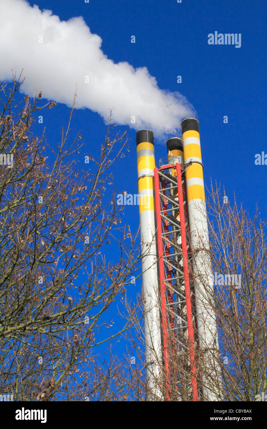 Chimney emitting smoke with winter trees in the foreground against a blue sky Stock Photo