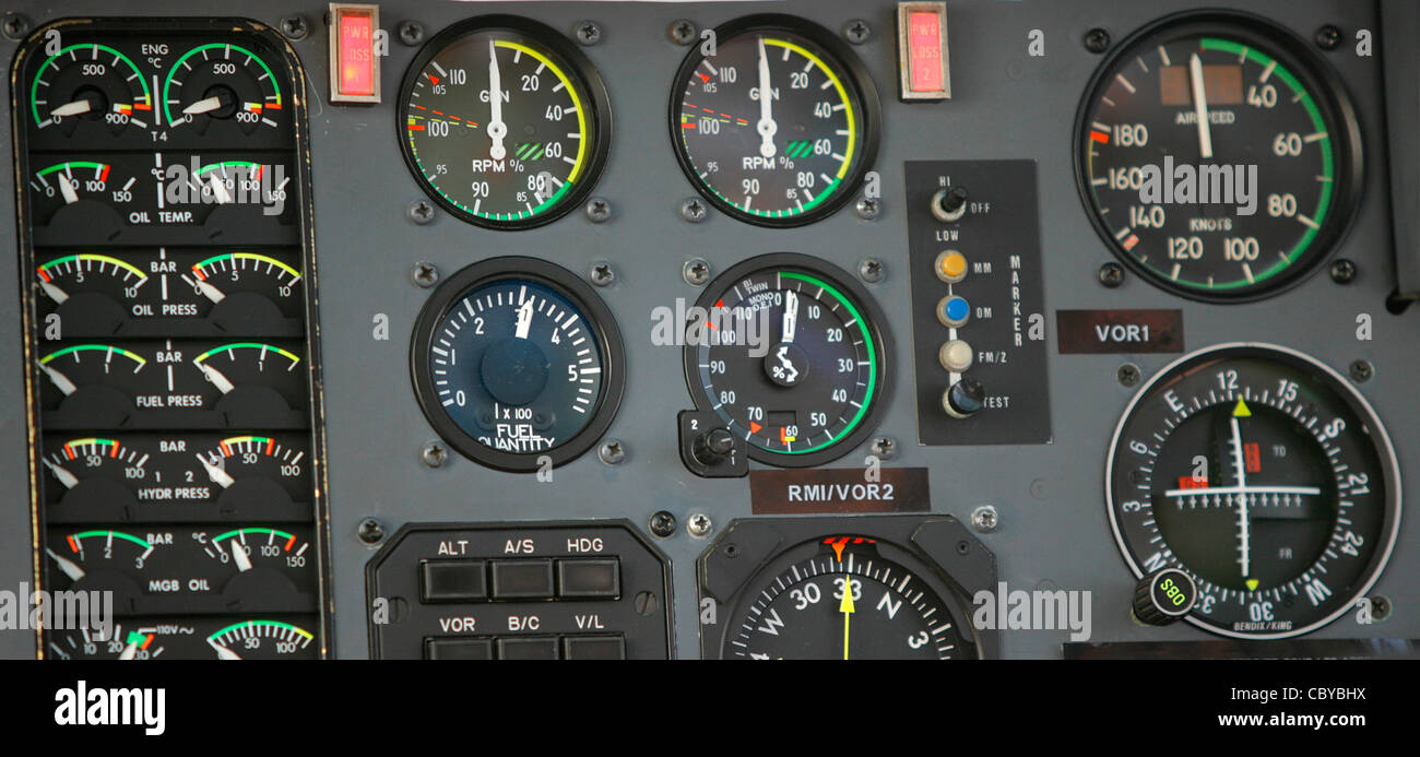 Control panel of a helicopter with many gages - Stock Image