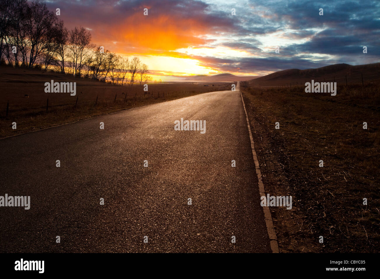 Sunset by a country road - Stock Image