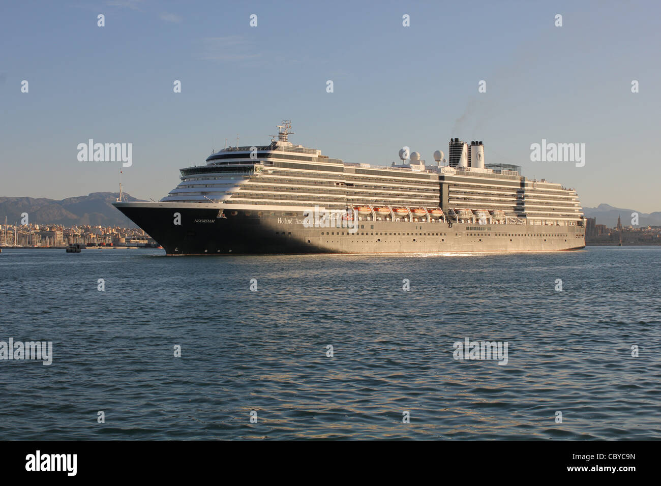 Holland America Line Cruise Ship 'Noordam' early morning arrival during a regular visit to the Port of Palma - Stock Image