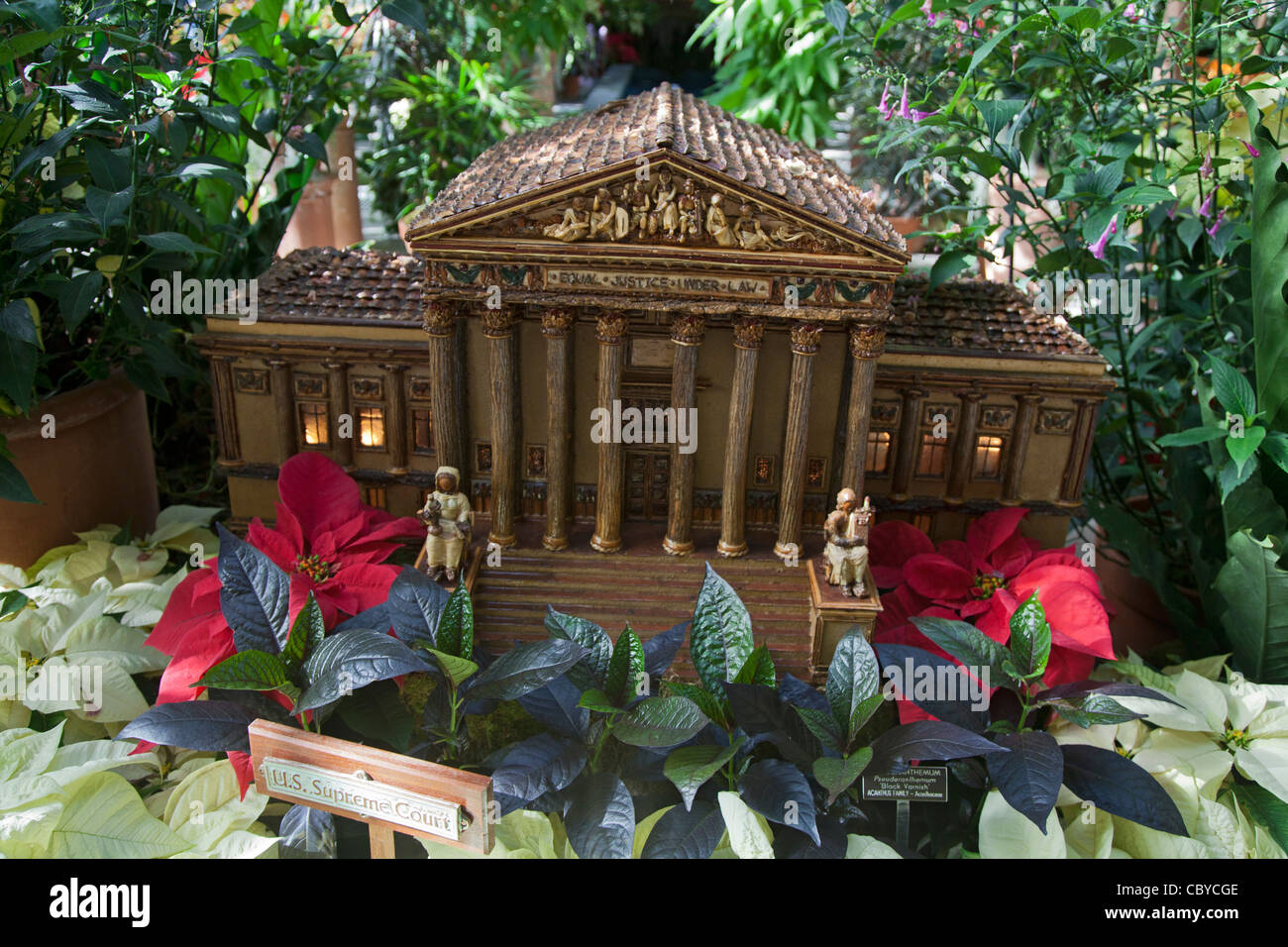 A model of the U.S. Supreme Court made of dried plant materials at the U.S. Botanic Garden - Stock Image