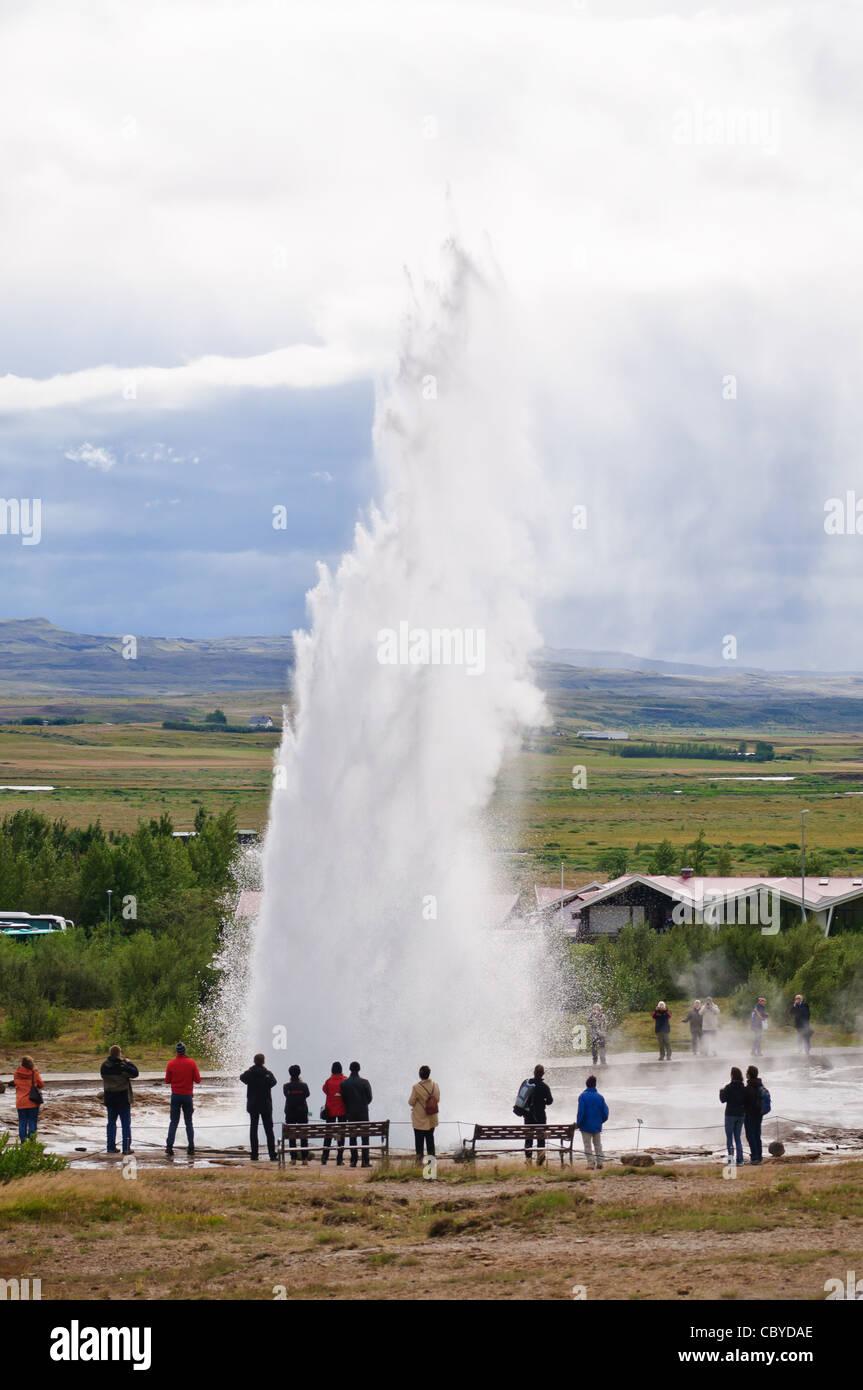 Strokkur geyser erupts. Haukadalur, Iceland. - Stock Image