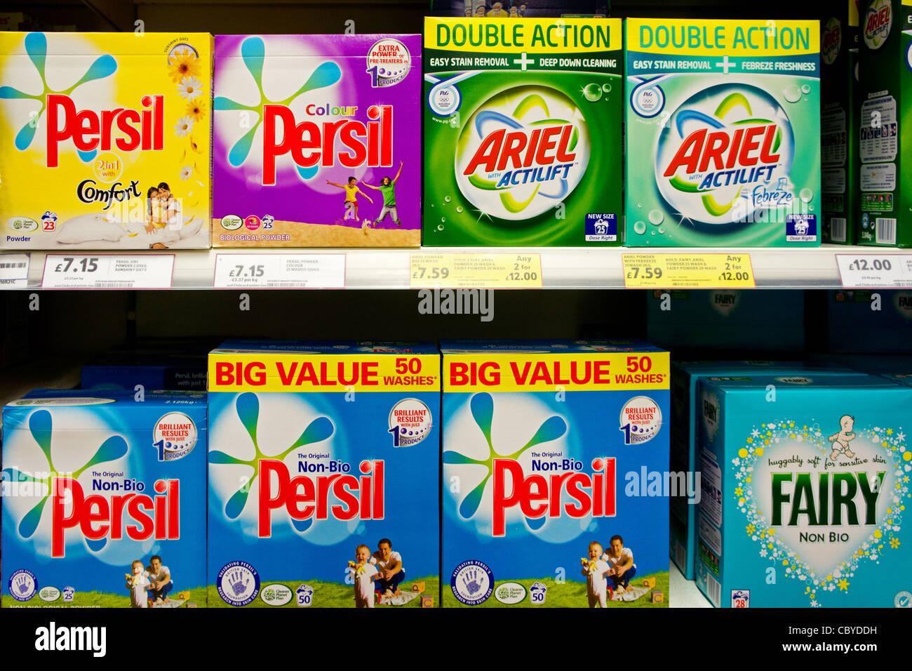 Boxes of Persil washing powder on a supermarket shelf, UK - Stock Image