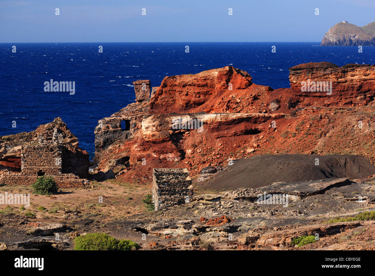 The abandoned iron and magnesium mines at Vani Cape, Milos island, Cyclades, Greece - Stock Image