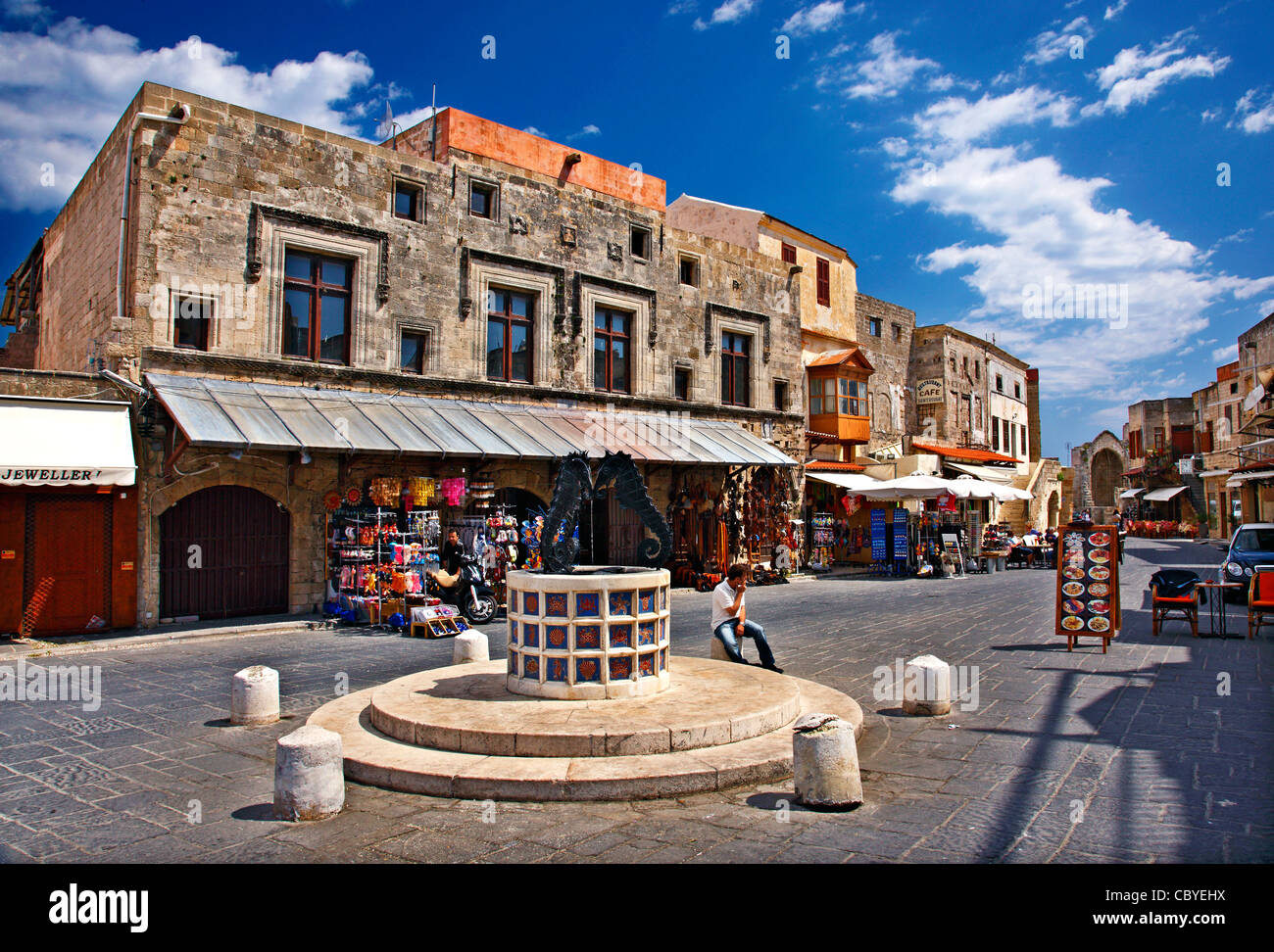 The  square  of Jewish Martyrs, in the heart of the Medieval town of Rhodes island, Dodecanese, Greece. - Stock Image