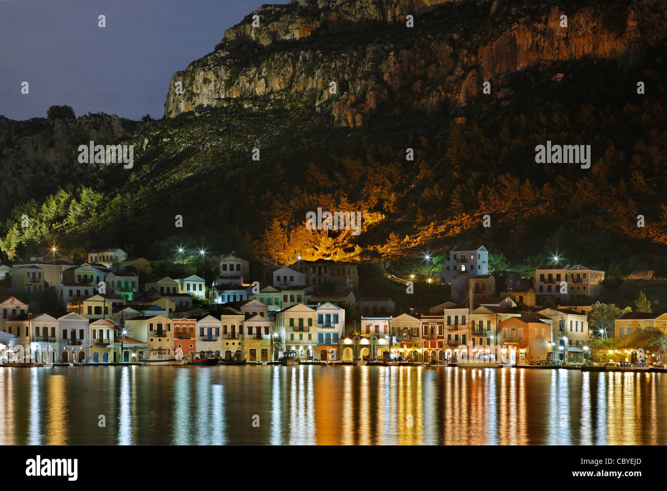 Partial night  view of the picturesque village of Kastellorizo (or 'Meghisti') island, Dodecanese, Greece - Stock Image
