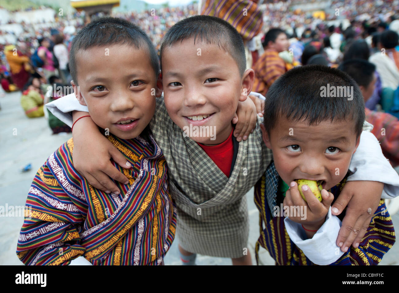 Asia, Bhutan, Cham, children, playing, Thimpu, Tibet, Tsechu - Stock Image