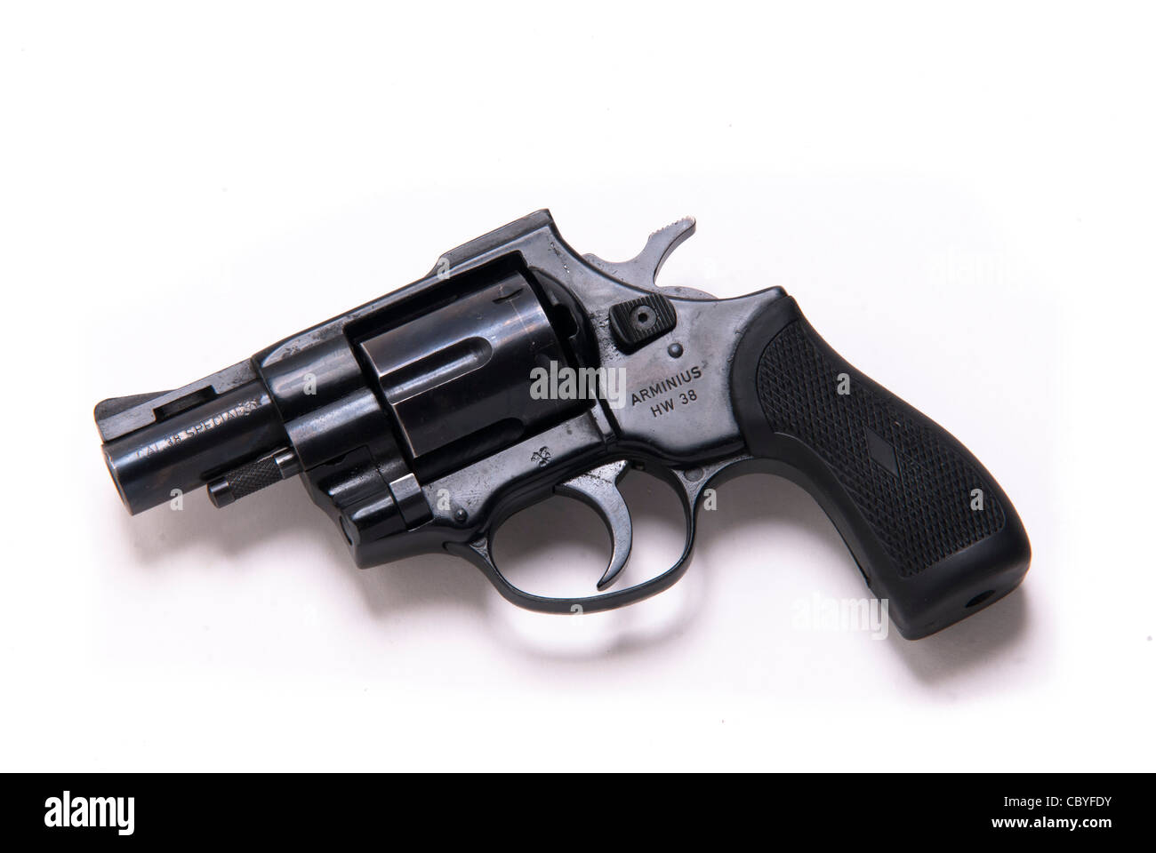 close up of revolver on white background - Stock Image
