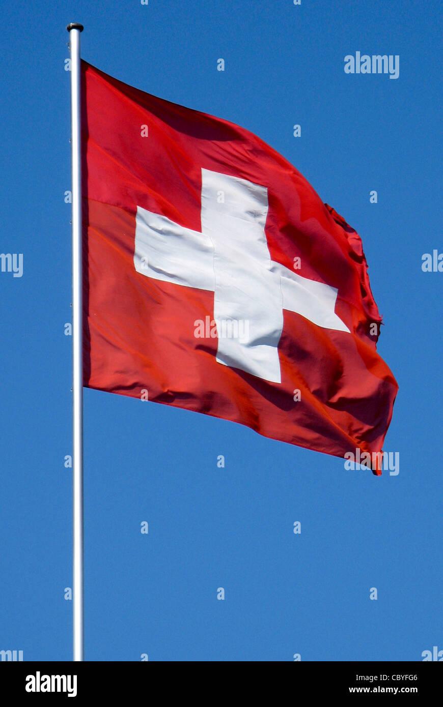 National flag of Switzerland. - Stock Image