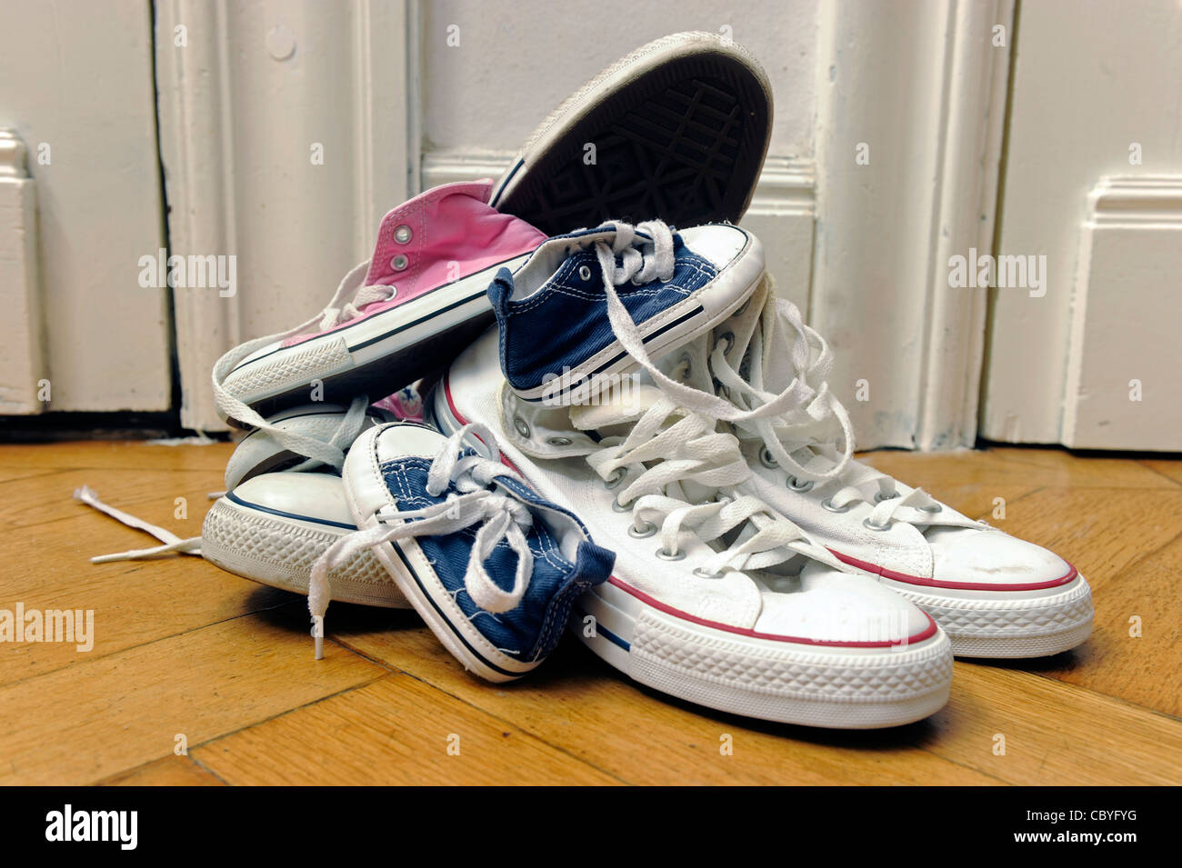 Shoes in different sizes. Stock Photo