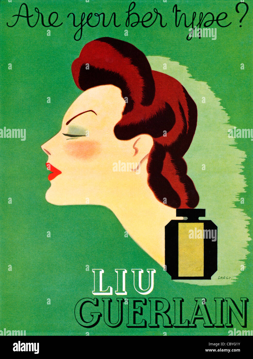 Liu Guerlain, 1937 advert in an English magazine for the classic French perfume, Are You Her Type - Stock Image