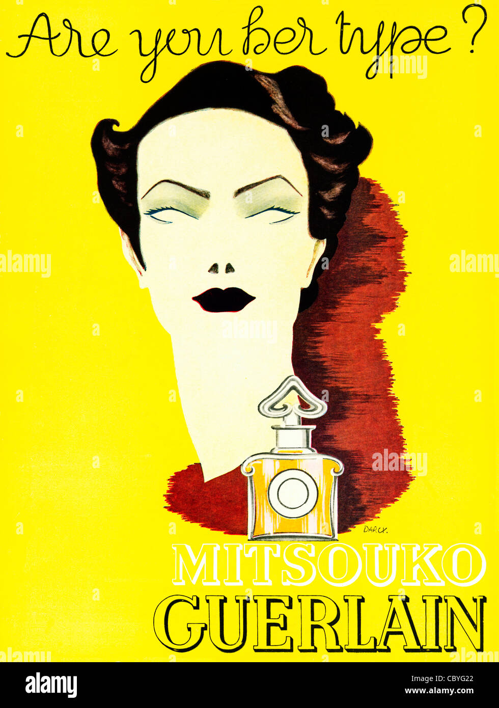 Mitsouko Guerlain, 1938 advert in an English magazine for the classic French perfume, Are You Her Type - Stock Image