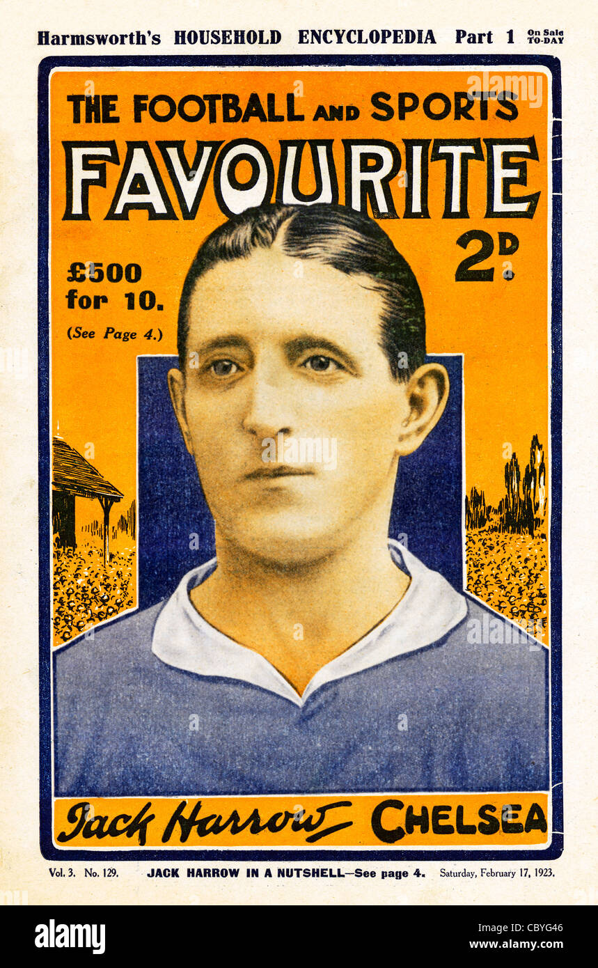 Football Favourite, Jack Harrow, 1921 cover of the sports magazine with Chelsea FC left back and captain Jack Harrow - Stock Image