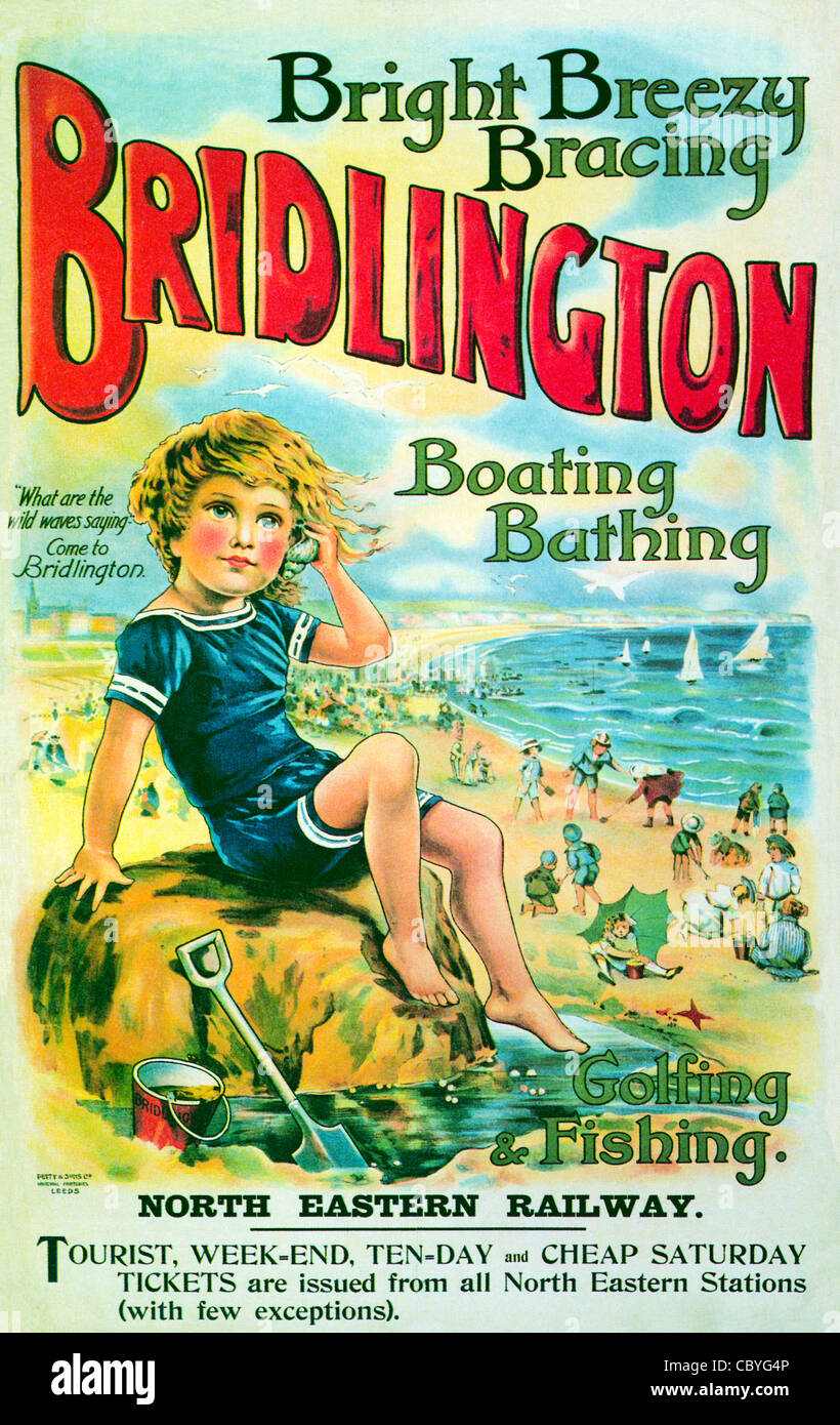 Bridlington, Rockpool, 1913 poster from the North Eastern Railway for the Bright Breezy Bracing Yorkshire resort - Stock Image