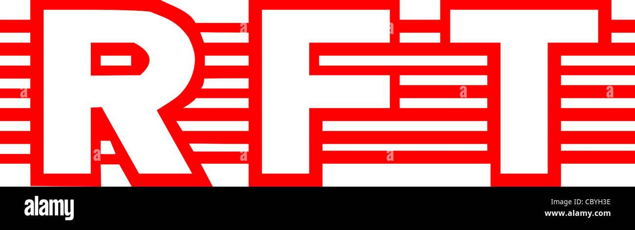 Logo of the GDR manufacturer association of state-owned enterprises of the information technology RFT. - Stock Image