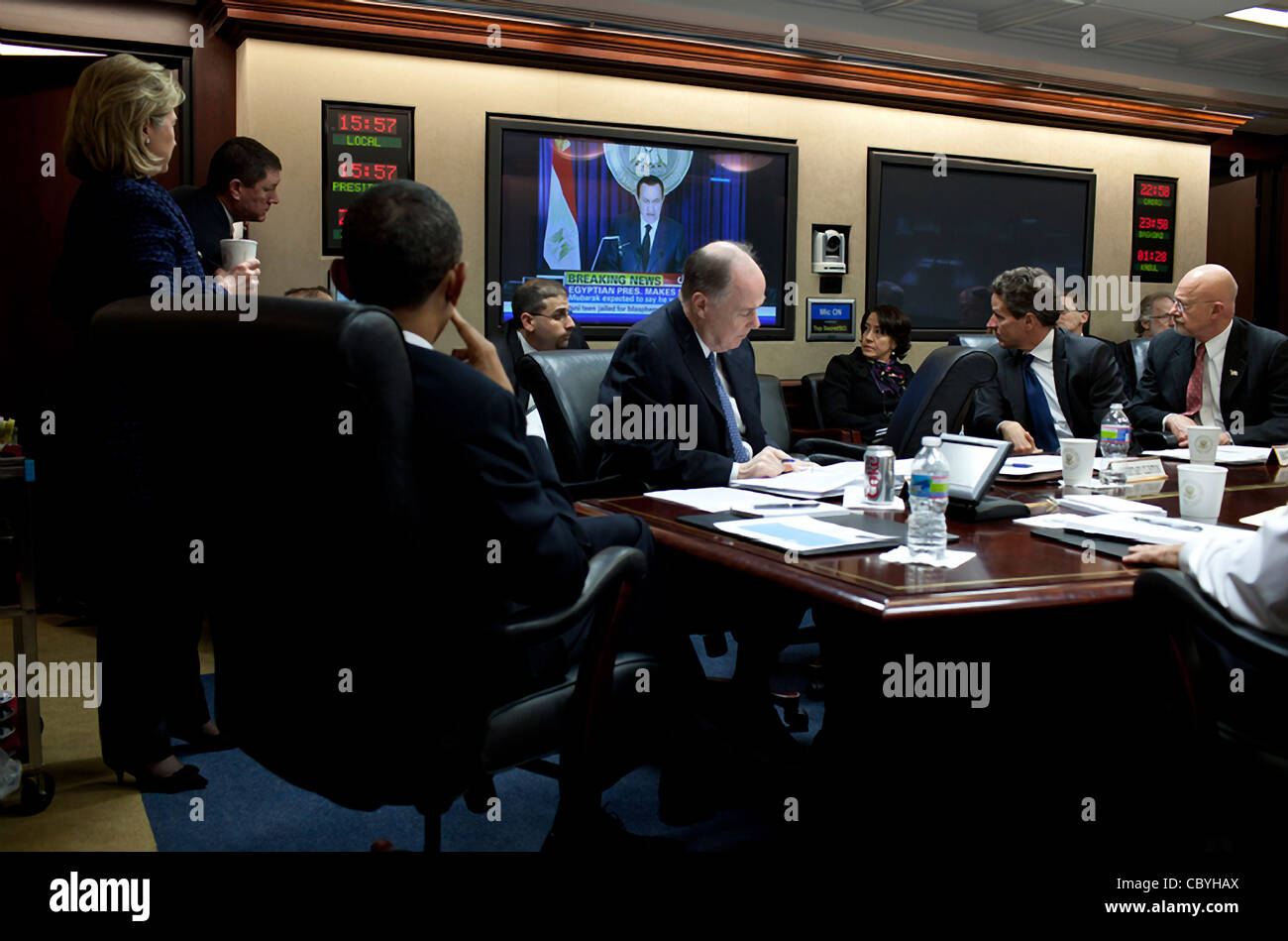 President Barack Obama and his national security team gathered in the Situation Room February 1, 2011 on the developing - Stock Image