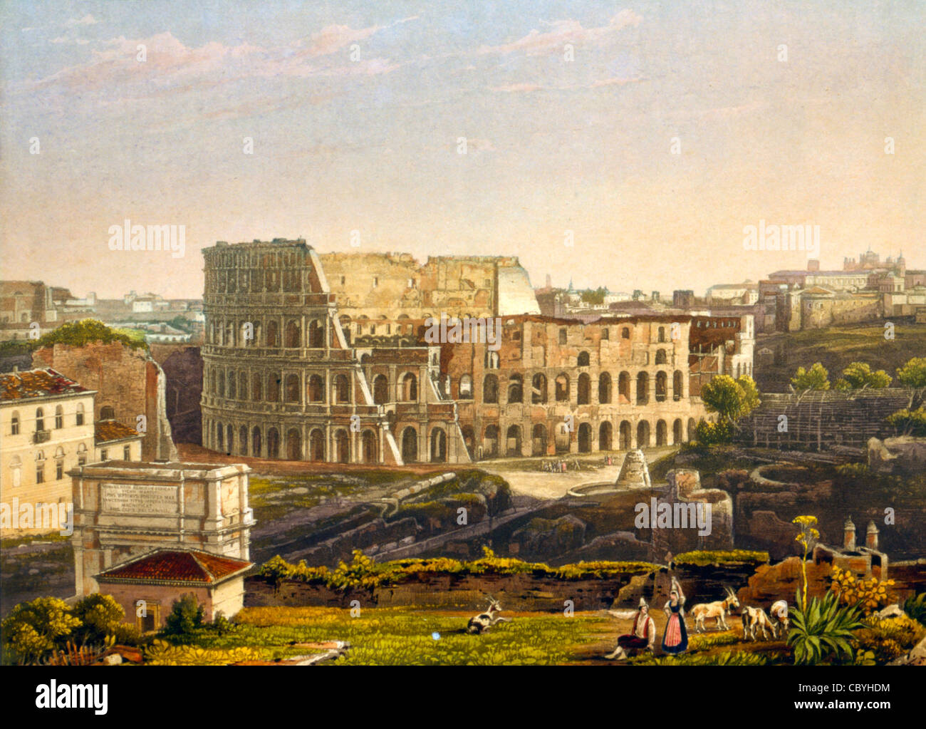 View  of the Colosseum, Rome, Italy. Le Colisee a Rome! Circa 1842 - Stock Image