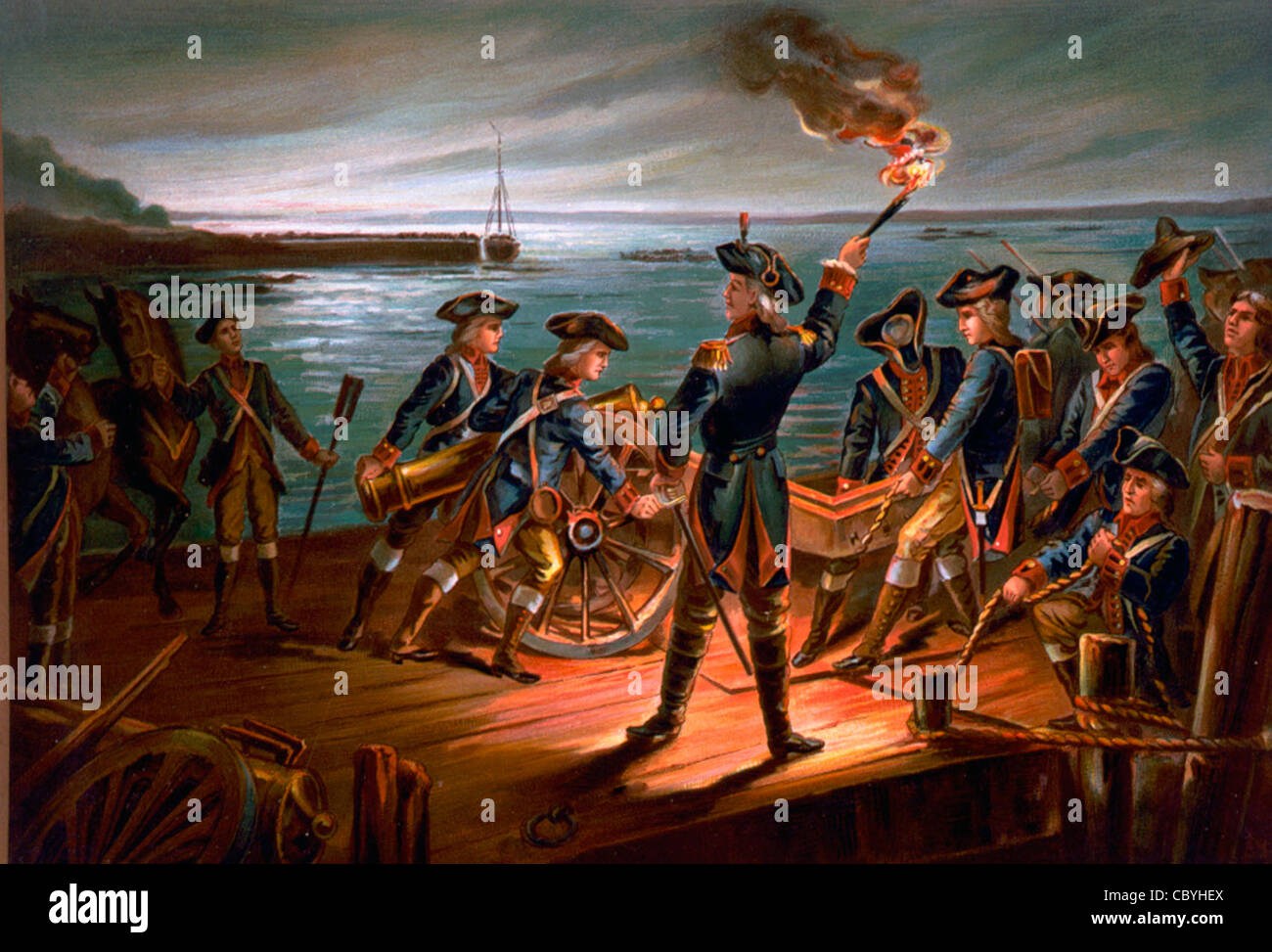 USA Army Artillery retreat from Long Island 1776 during American War of Independence Stock Photo