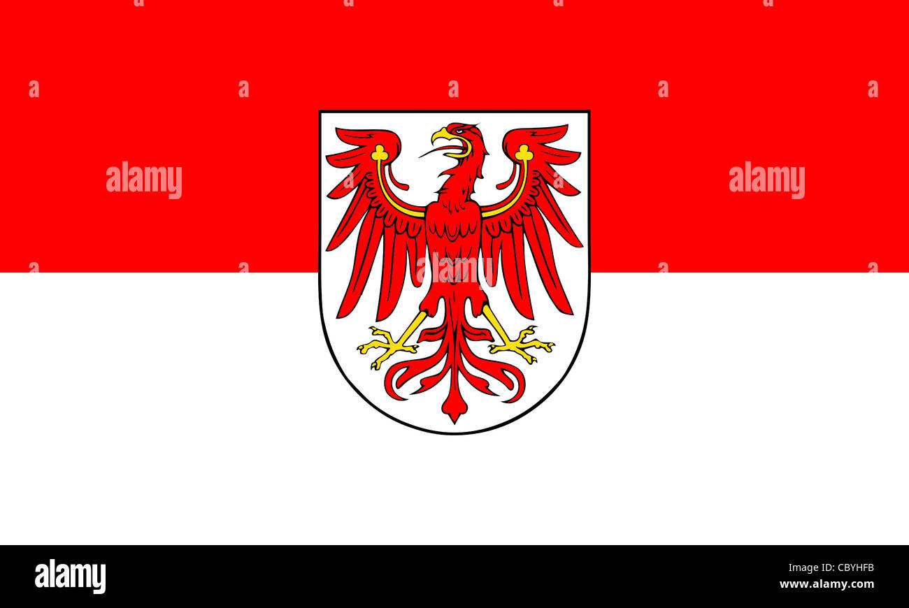 Flag of the German federal state Brandenburg with coat of arms. - Stock Image