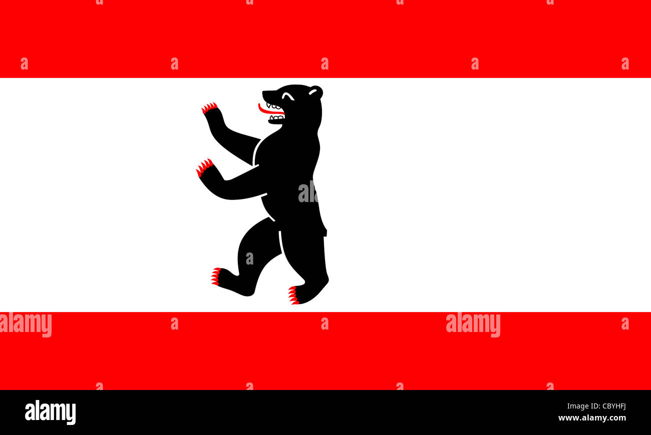 Flag of the German federal state Berlin with coat of arms. - Stock Image