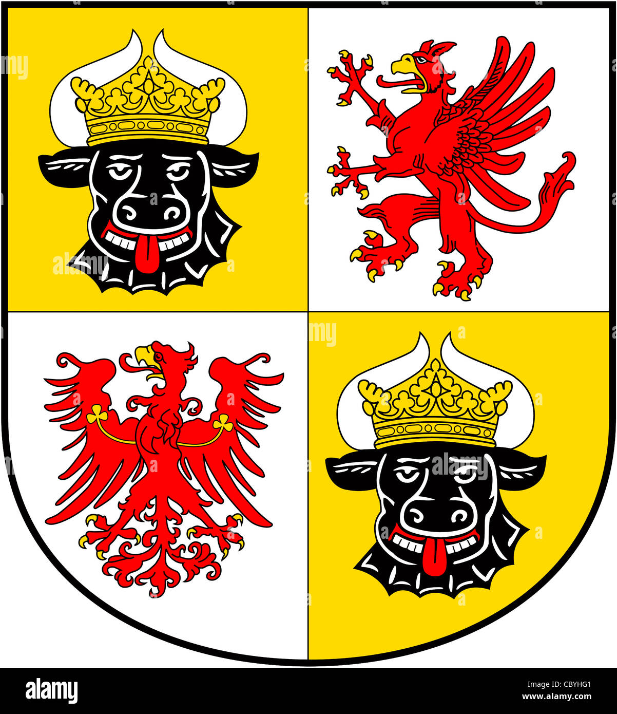 Coat of arms of the German federal state Mecklenburg-Western Pomerania. - Stock Image