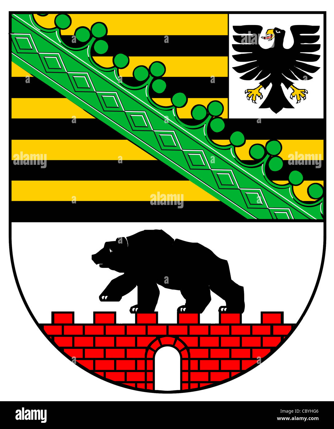 Coat of arms of the German federal state Saxony-Anhalt. - Stock Image