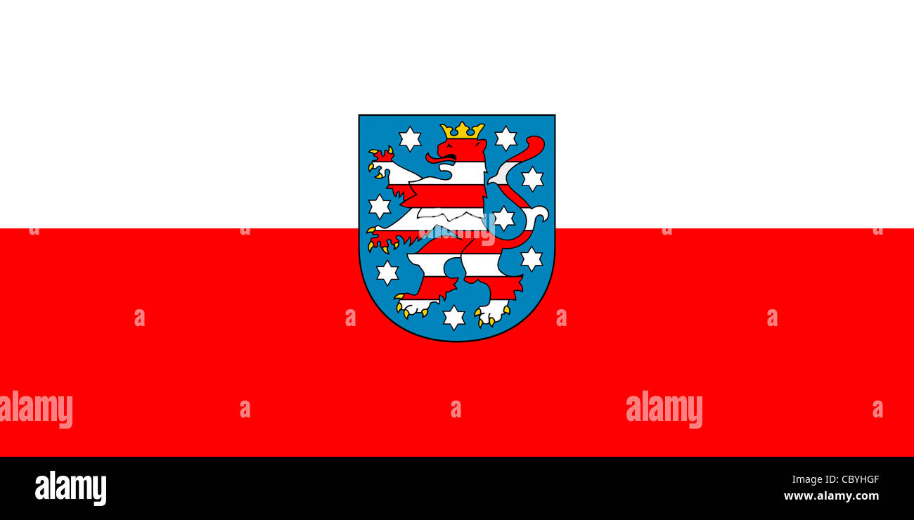Flag of the German federal state Thuringia with coat of arms. - Stock Image