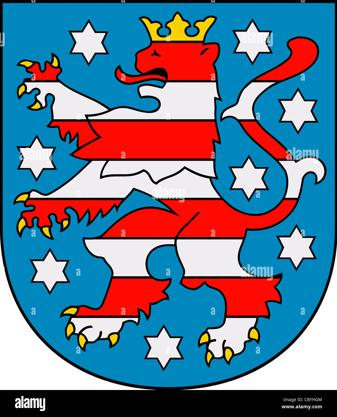 Coat of arms of the German federal state Thuringia. - Stock Image