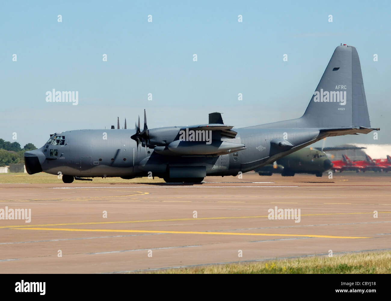 Lockheed Hercules MC-130E Combat Talon I of the USAF taxis to the runway at the 2010 Air Tattoo, Fairford, Gloucestershire - Stock Image
