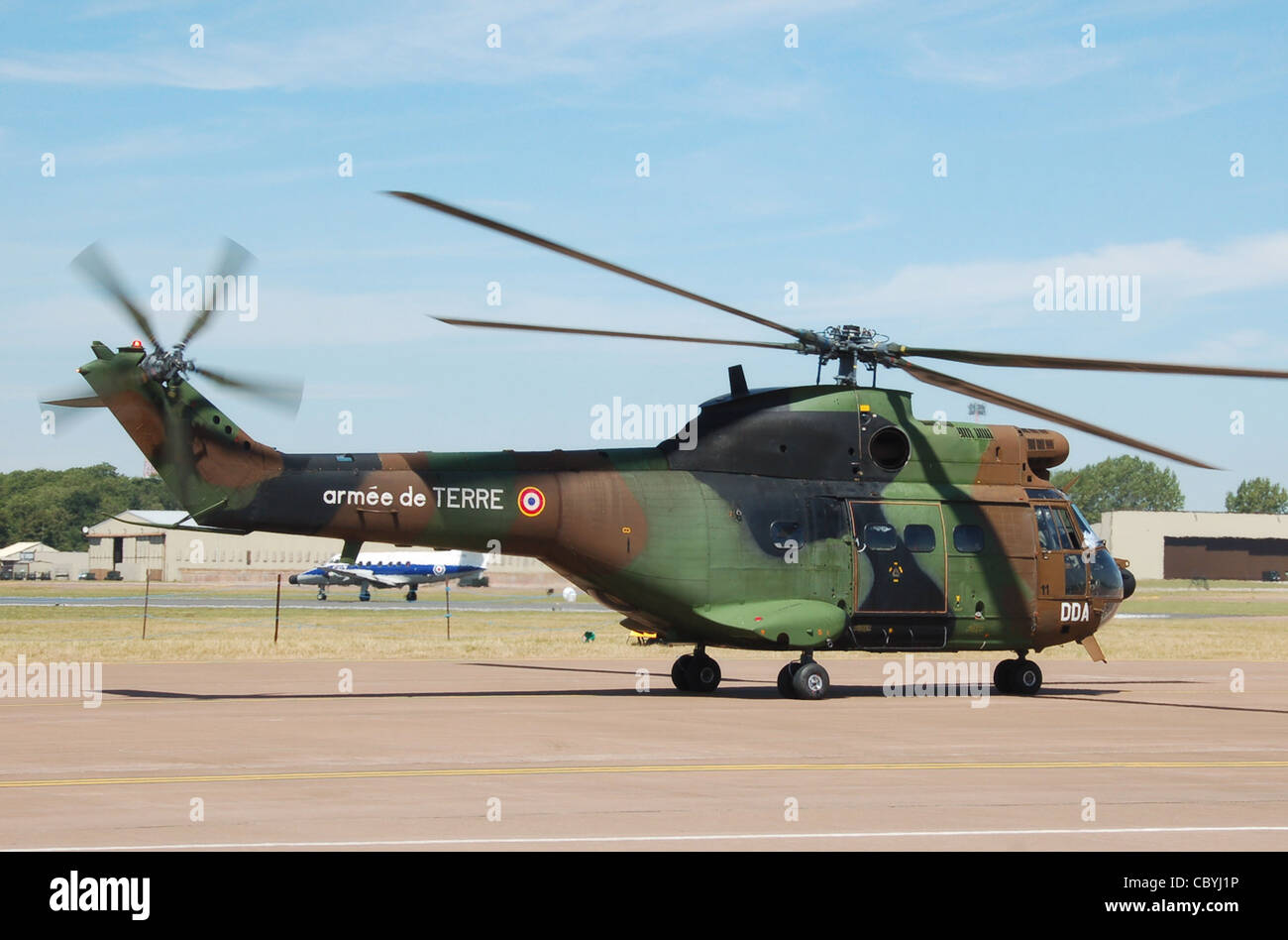 French Air Force (Armee de Terre) Aerospatiale SA 330B Puma (military codes DDA and 11) at the 2010 RIAT Stock Photo