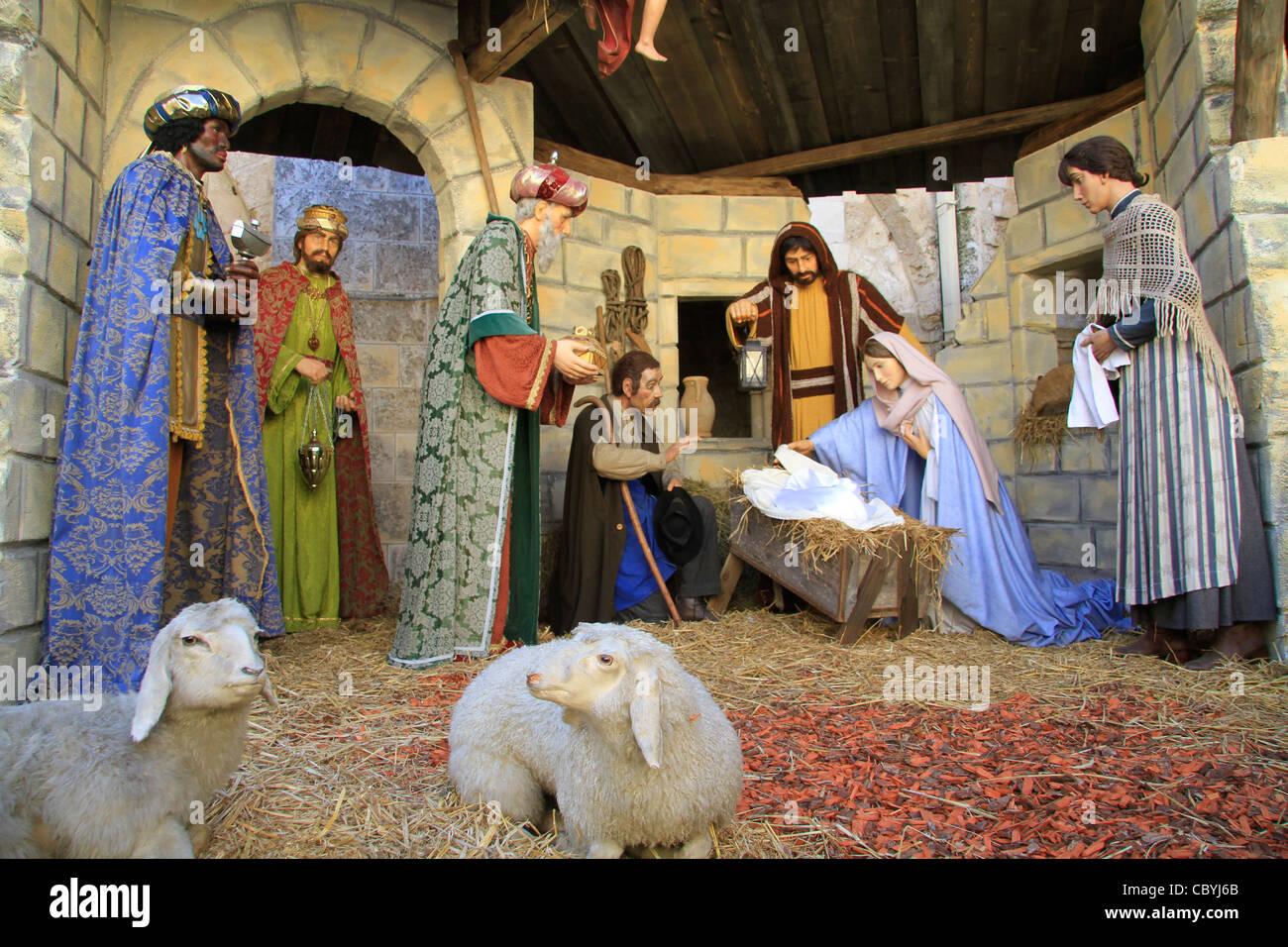 Bethlehem, Nativity Scene at the Church of St. Catherine Stock Photo