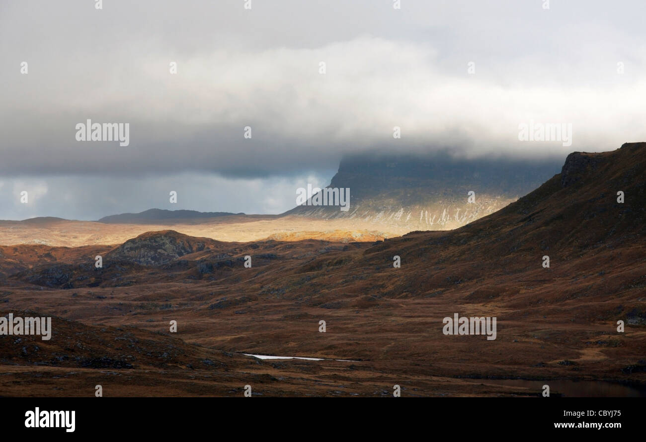 landscape in Scotland with dramatic clouds - Stock Image