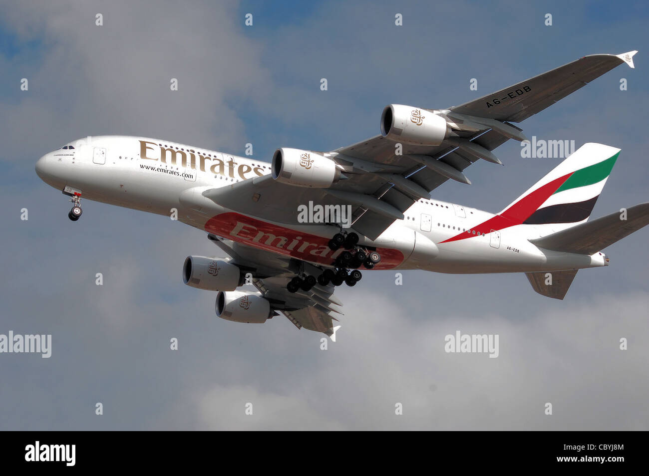 Emirates Airbus A380-800 (A6-EDB) lands at London Heathrow Airport, England. - Stock Image