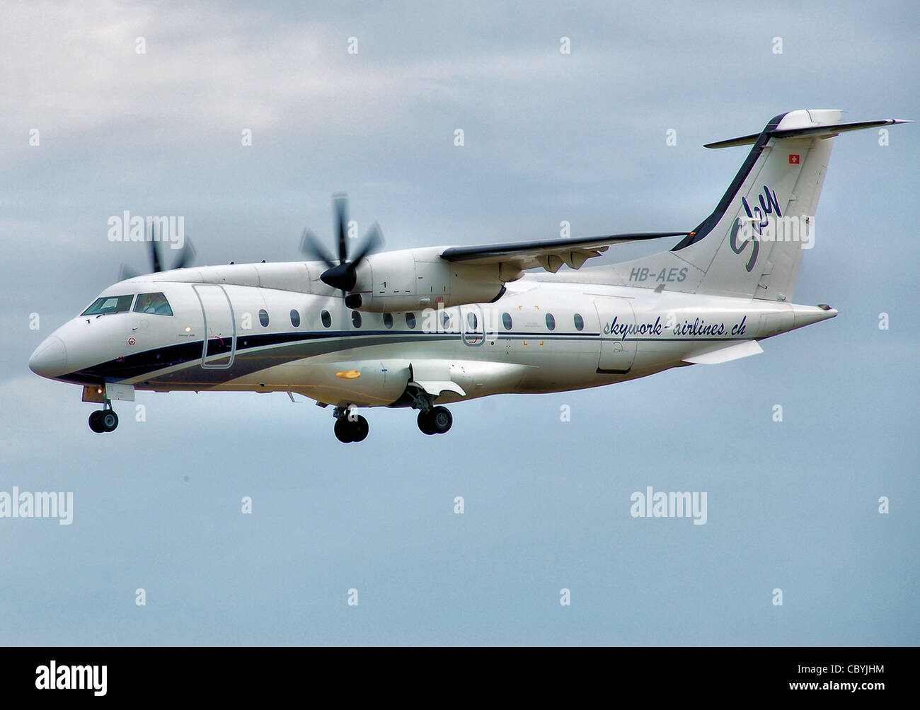 Sky Work Airlines Dornier 328-110 (Swiss registered HB-AES), operating for the Swiss Air Force - Stock Image