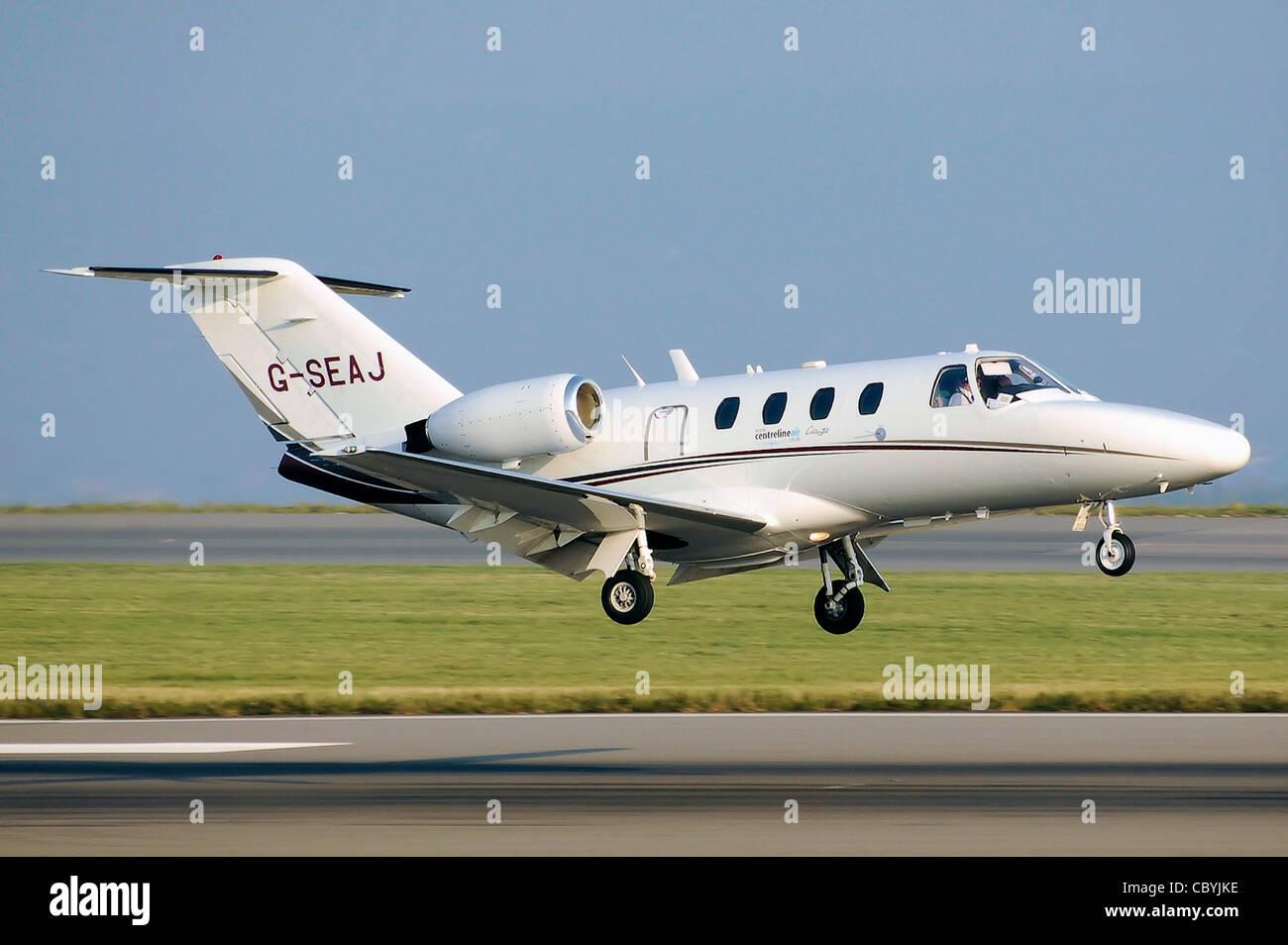 Centreline Air Charter Cessna 525 CitationJet (G-SEAJ) lands at Bristol International Airport, England. - Stock Image