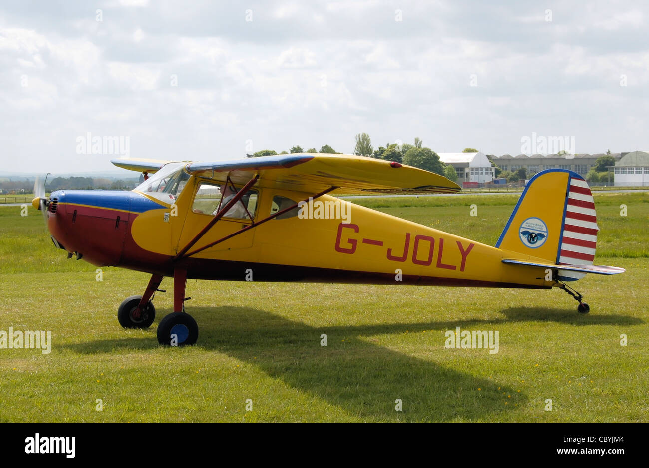 : Cessna 120 (G-JOLY), built 1947, at a vintage aircraft rally (the Great Vintage Flying Weekend), Kemble Airport - Stock Image