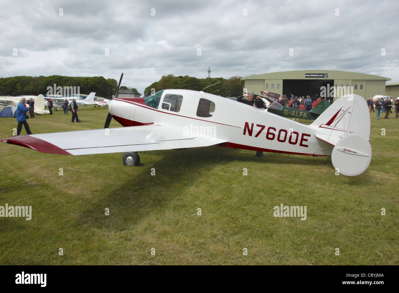 Bellanca 14-19-2 Cruisemaster (N7600E), built 1958, at a vintage aircraft rally - the Great Vintage Flying Weekend, - Stock Image
