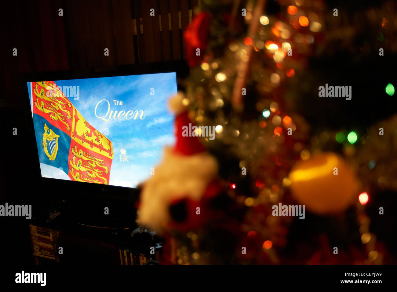 the queens speech broadcast on television at christmas in the uk - Stock Image