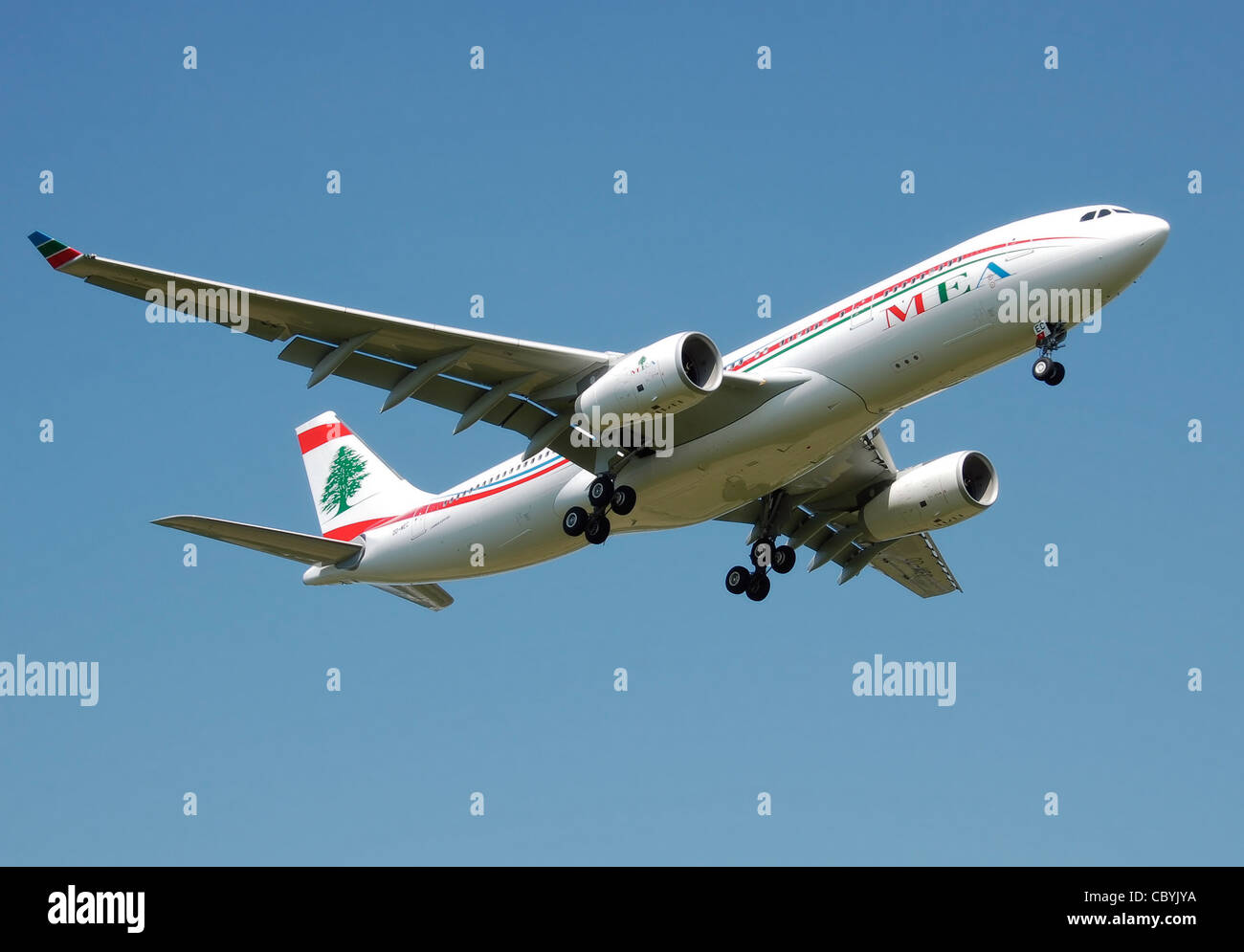 Middle East Airlines A330-200 (OD-MEC) lands at London Heathrow Airport, England. - Stock Image